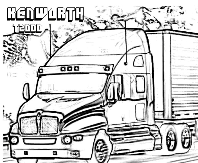 Kenworth T2000 Truck Car Coloring Pages