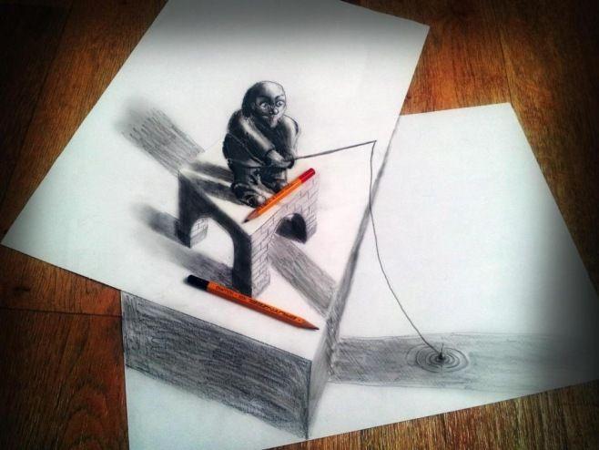 Ramon Bruin: Kurşun Kalemle 3D Optik İllüzyon - Ramon Bruin yeni bir resim tarzı olan Sarcism'in mucididir. Hollanda'lı sanatçı bir kalem yardımıyla kağıttan geliyor gibi görünen son derece gerçekçi çizimler yaratmış.