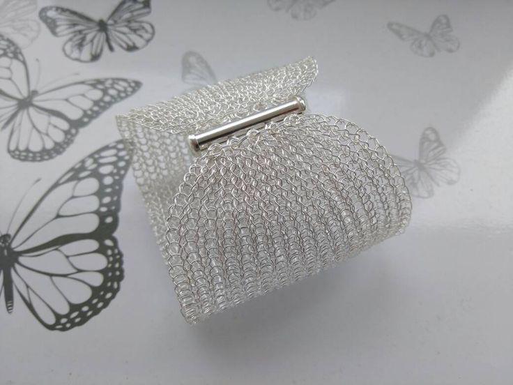 999 Fine silver  crochet cuff bracelet/ Handmade bracelet/ Extra wide silver bracelet/ Sterling silver bracelet/ Designer bracelet by KvinTal on Etsy