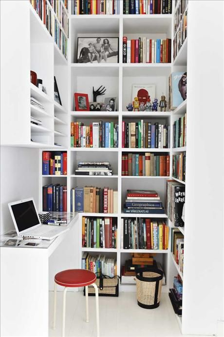 Office nook with a bookcase