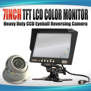 "7"" Monitor HD 12V/24V Reversing CCD Eyeball Dome Camera Truck Caravan"