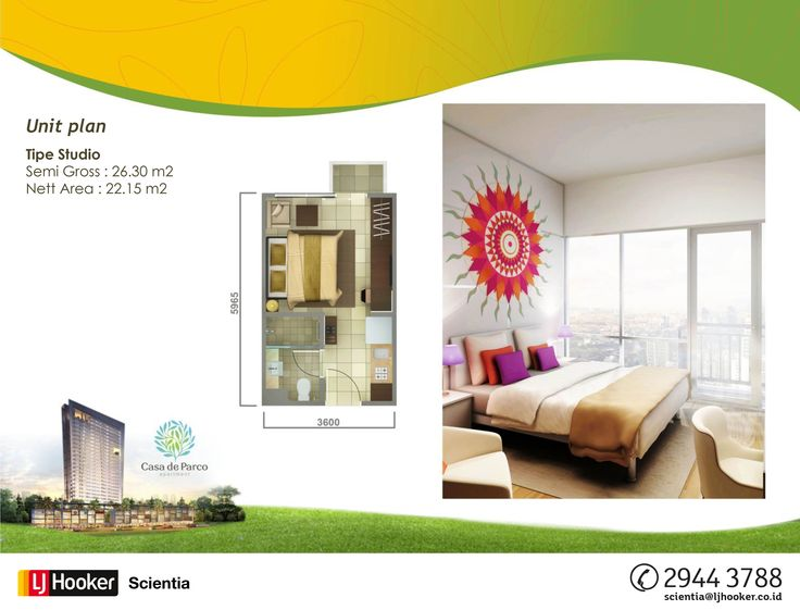 UNIT PLAN - STUDIO TYPE - MAGNOLIA Tower @ Casa de Parco Apartment, BSD City