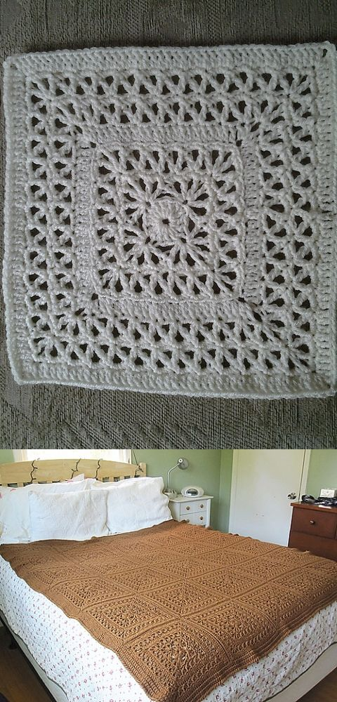 "Double-Framed Lace, free pattern by Chris Simon. Repetitive stitches make this an easy 12"" square that should work up fast. Regular worsted weight yarn, hook size 'H'  ༺✿Teresa Restegui http://www.pinterest.com/teretegui/✿༻"