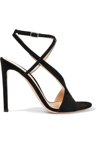 Gianvito Rossi's sandals are designed with slim straps that sweep beautifully around the ankle to frame and flatter your foot. This hand-finished pair is constructed from black suede and has a slim stiletto heel. The leather insole is comfortably cushioned.x
