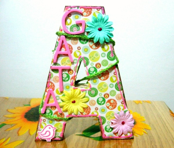 Altered wooden big letter for my daughter, Agata