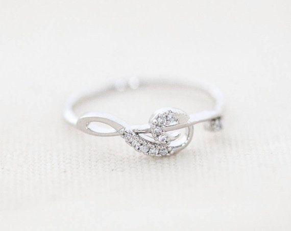 Cubic Treble Clef Ring - Silver // R097-SV // Treble clef ring,cubic ring,music ring,womens rings,unique rings