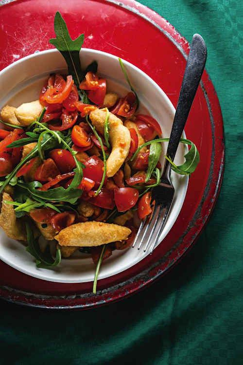 Fried Dough with Arugula and Grape Tomatoes