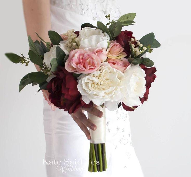 Silk Burgundy and Ivory Wedding Bouquet - Rustic Wedding Bouquet
