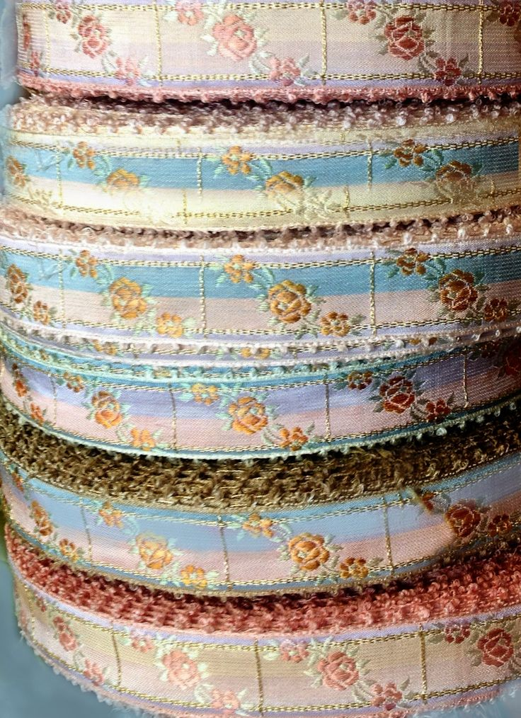 French Vintage Embroidered Silk Jacquard