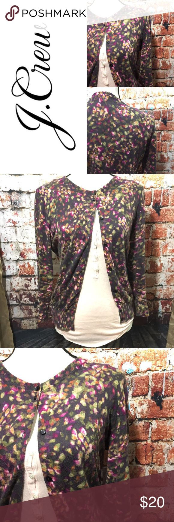 {J. Crew} floral cardigan J. Crew factory gorgeous floral cardigan. Size Large. Pair with your favorite skinny jeans, gray pumps and a cute T. Great used condition. Location R-2. J. Crew Factory Sweaters Cardigans