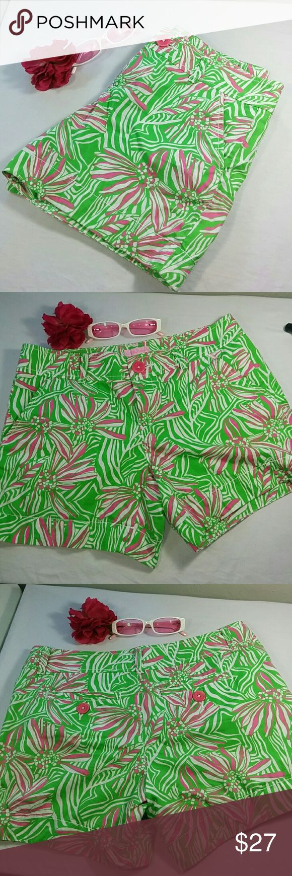 Lilly Pulitzer pink and green shorts Lilly Pulitzer pink and green shorts, flower pattern. Size 2, excellent condition. Lilly Pulitzer Shorts