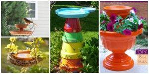 DIY Terracotta Flower Clay Pot Bird Feeder Projects Instructions