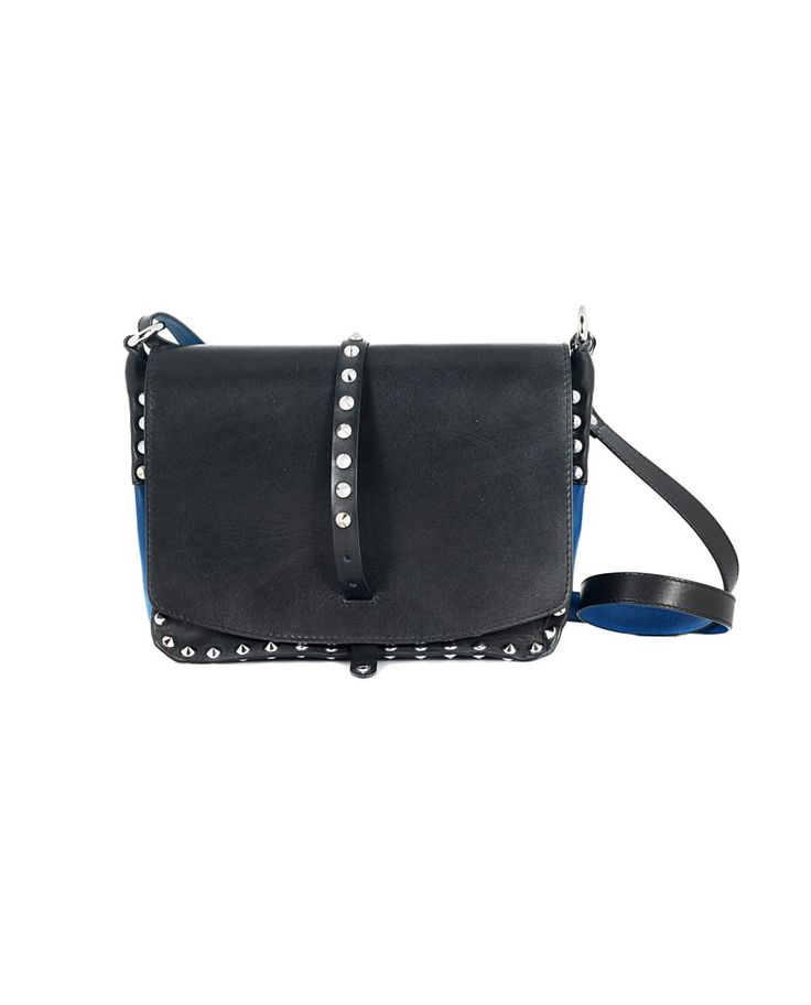 Black leather bag with blue trim removable leather shoulder strap decorated with studs front buckle closure Size: 25x18x10 cm 100% Leather