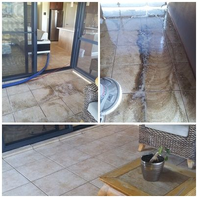 Before and After Patio Tile & Grout Cleaning