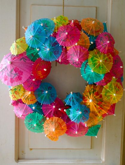 Cocktail Umbrella wreath great for summer and luaus