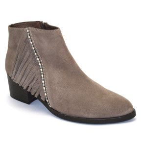 Gaimo - Almond Suede Side-Fringe Ankle Boot.  Beautiful almond suede ankle boots with inner padded leather. Features a low ankle cut with fringing design, pointed toe and zip fastening on the side. 5cm heel and 1cm sole height. The funky design means that these shoes can be worn all season round and look great with any outfit. Handmade in Spain. Available at www.pasionshoes.com.au