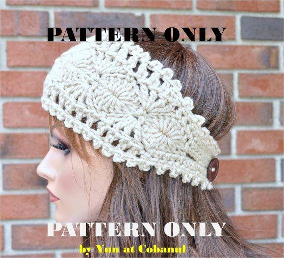 Instant Download - Pattern #1, Crochet Headband with flower, Ear warmer, on Etsy, $5.00