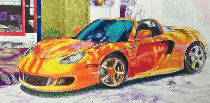 Porsche 911 car drawing. Cars have faces, in case you haven't noticed. So it is pretty much a portrait drawing.