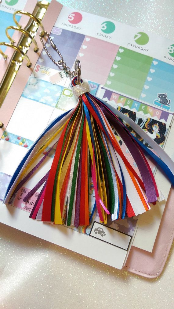 Rainbow Ribbon Tassel For A Planner Or Purse by PumpkinParcel
