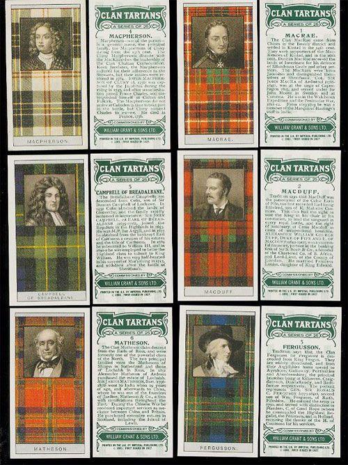 From Walter Scott's Black & White Tartan Design to Famous Scottish Clans Tartans Card Set