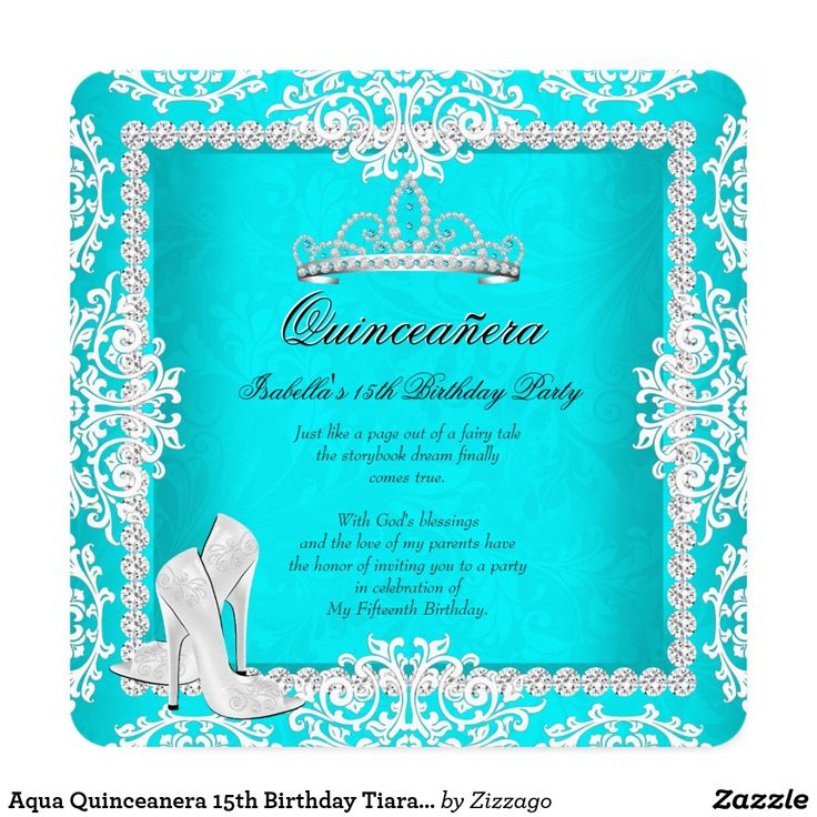Aqua Quinceanera 15th Birthday Tiara High Heels Card Princess Quinceanera 15th Birthday Party. White and Aqua Turquoise, Teal Blue Damask, Silver Diamond Tiara, With Silver White High Heel Shoes. Silver White Lace frame. Birthday Party Princess mis quince Party for women or a girl. Invitation Formal Use for any event invitation Customize to change or add details.All Occasions Fabulous Elegant Events for Women, Girls, Party Invites for all ages, just customize to the age you want! Affordable…