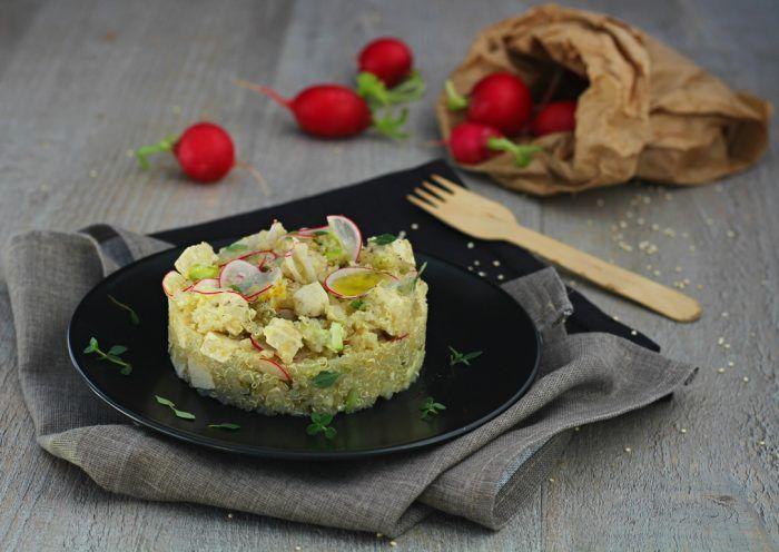 Quinoa con tofu ravanelli e timo limonato
