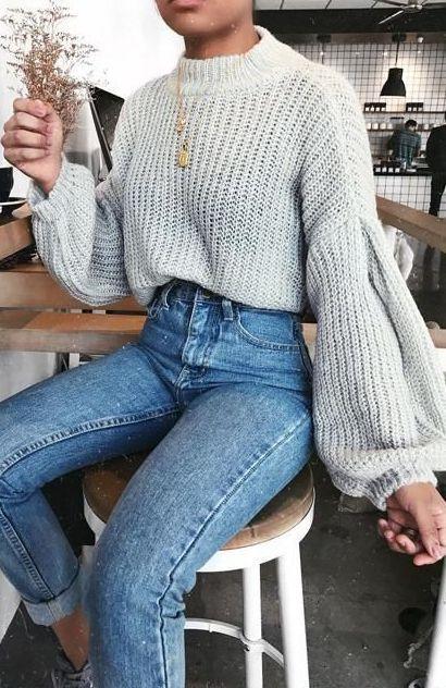 41 Große, übergroße, klobige Sweater-Outfit-Ideen für den Herbst und Winter – Style Spacez