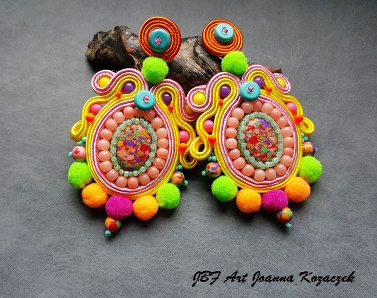 Pom pom colourful soutache earrings - JBF Art