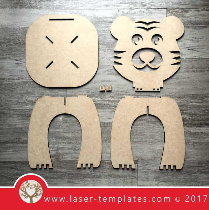 Laser cut Tiger Kids Chair Template, download vector design patterns.