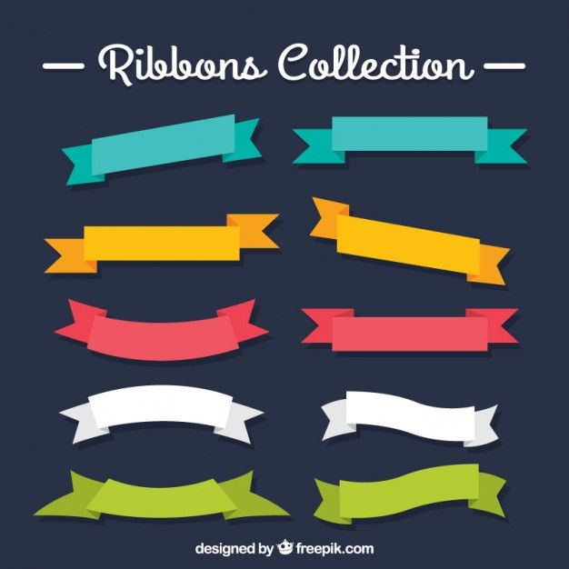 Colored ribbons collection I Free Vector
