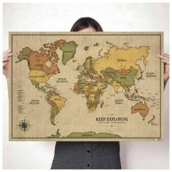 Pôster Mapa-Múndi estilo Vintage em tamanho A1 com 220 Pins Adesivos (110 Pretos + 110 Bordôs) para marcar suas viagens! Impressão de alta qualidade em papel especial. Os Pins Adesivos são em 3 tamanhos, para marcar facilmente até os menores países. Suas viagens merecem um mapa especial!
