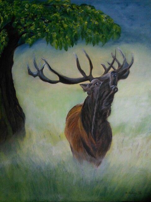 Rutted deer  / by An Vreeburg Oil / Canvas 50 X 70 cm