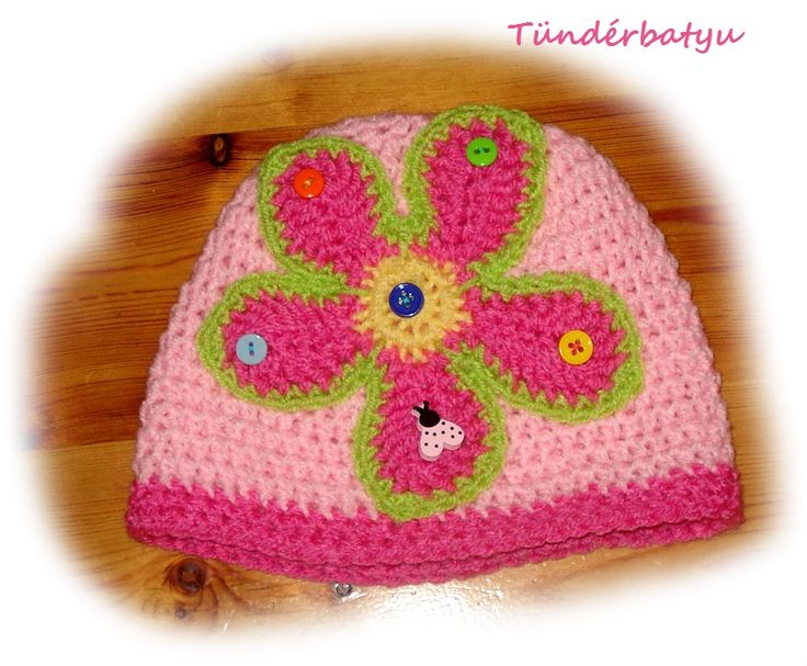 pink hat with big flower for girls
