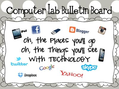 Computer Lab Bulletin Board- Oh, the Places Youll Go from Elementary Techie Teacher on TeachersNotebook.com (15 pages)