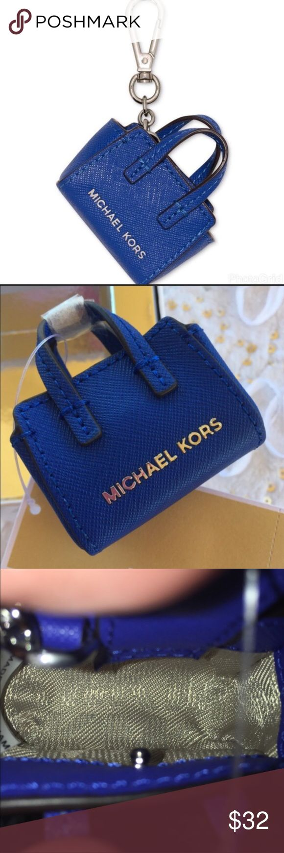 """Micheal Kors keychain 💯% Authentic Micheal Kors Keychain.                                                                2"""" high x 2.5"""" wide 18k gold-plated or silver hardware, Saffiano leather **Color is Electric Blue** Mini Selma handbag charm with 3/4"""" drop Carabiner clip closure Handbag charm: 2-1/2"""" W x 2"""" H x 1"""" D Imported Michael Kors Accessories Key & Card Holders"""