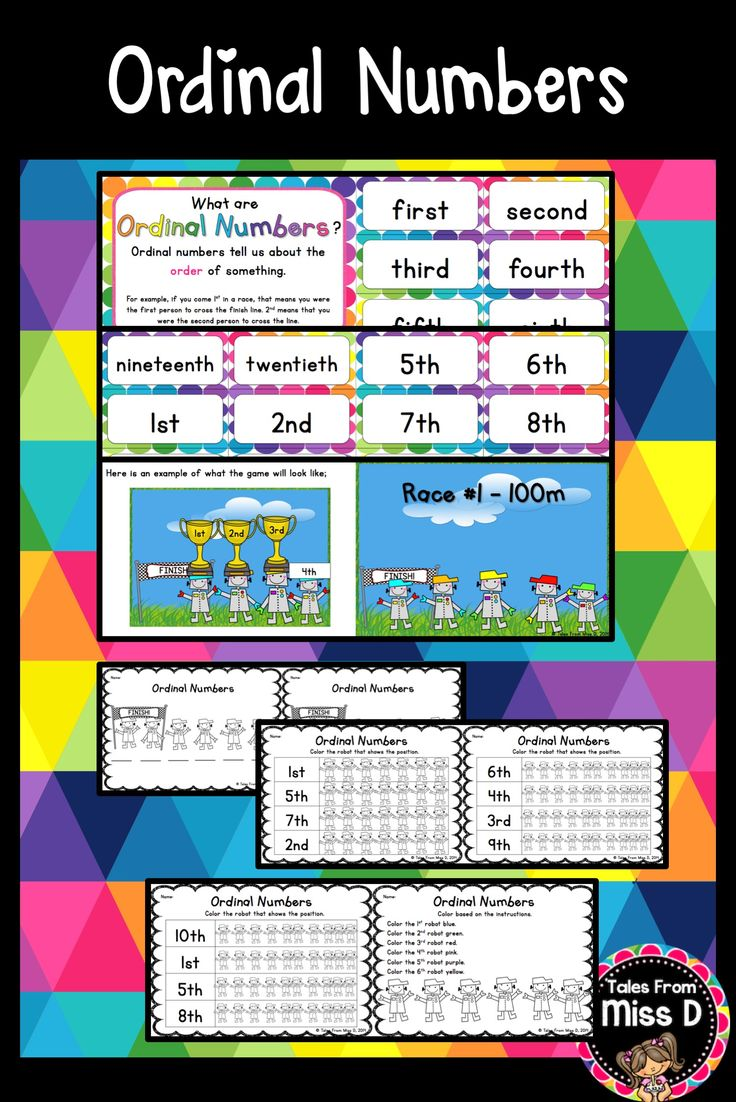 17 best images about ordinal numbers activities on