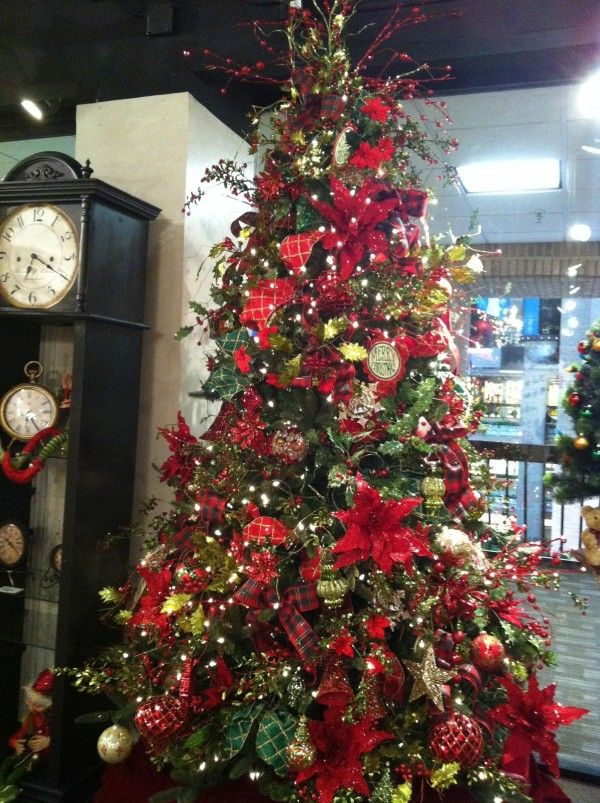 Decorations : 19 Magnificent Christmas Decorating Themes Perfect For This Upcoming Christmas - Fascinating Christmas Tree Decoration With Full Sparkling Ornaments With Flowers And Bows And Balls And Stars In Red And Green Colors For Holiday Decorating Themes medium version