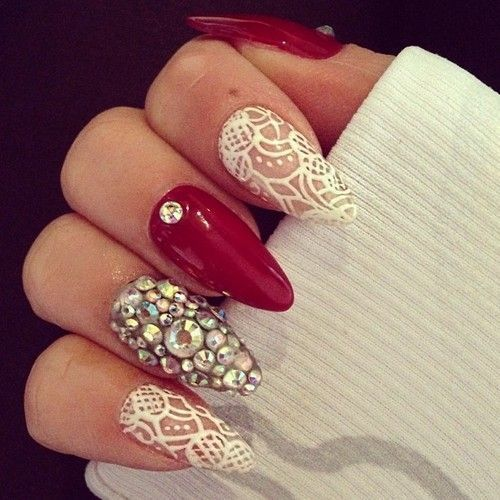 White lace, bling and red stilettos. - Best 25+ Almond Nails Red Ideas Only On Pinterest Red Nails