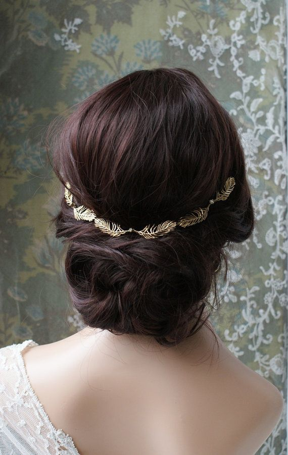 Makeup Ideas: Wedding Headpiece- Gold wreath  Bridal hair accessory -Gold leaf Halo-  gold hair vine  1920s wedding headpiece  1930s wedding dress