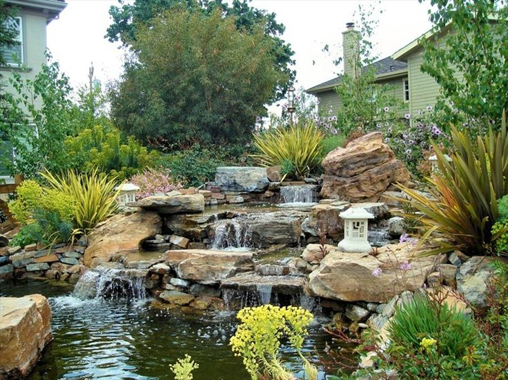 189 best backyard waterfalls images on pinterest for Koi pond waterfall design