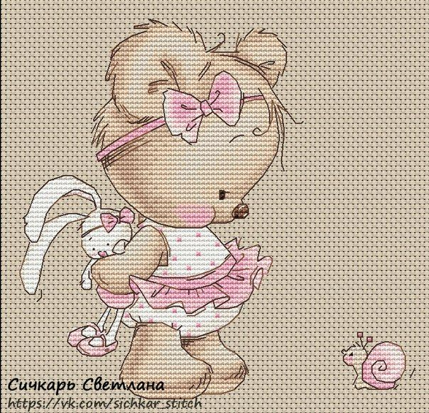 cute teddy bear - cross stitch - chart free pdf here: vk.com/sichkar_stitch
