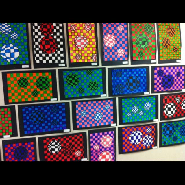 3rd grade OP ART. paper weaving