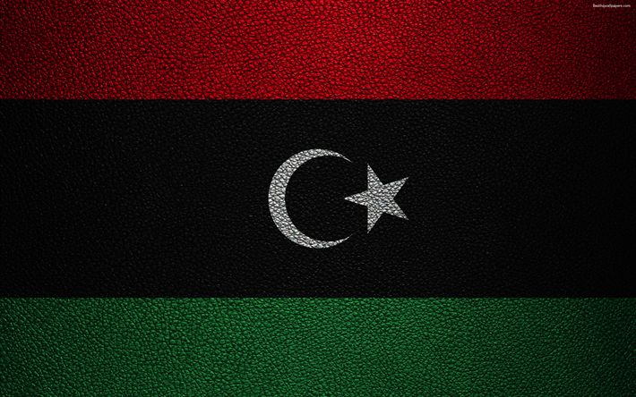 Download wallpapers Flag of Libya, 4k, leather texture, Africa, Libyan flag, flags of African countries, Libya