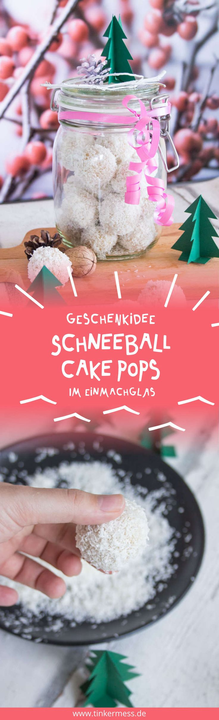 Vegane Schneeball Cake Pops Geschenkidee im Glas