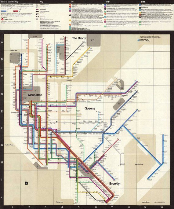 Massimo Vignelli 1972 Nyc Subway Map.Nyc Subway Map 1972 Massimo Vignelli Mta Vintage Map New York Subway