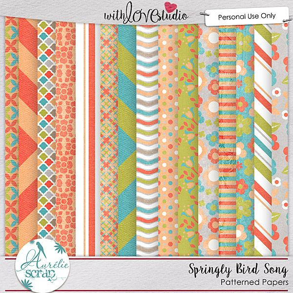 """Patterned Papers """"Springly Bird Song """" by Aurélie Scrap. It contains : 15 patterned papers"""