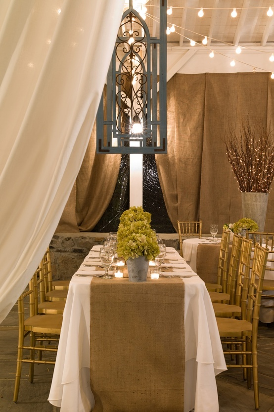 Burlap Curtains For Backdrop In Barn Wedding Burlap