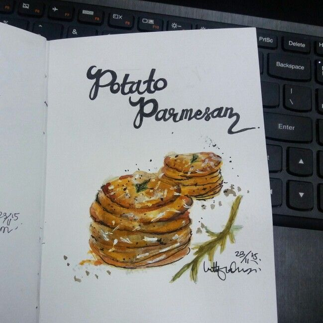 POTATO PARMESAN - WATERCOLOR ON CANSON SKETCHBOOK BY LUTHFIAHRA