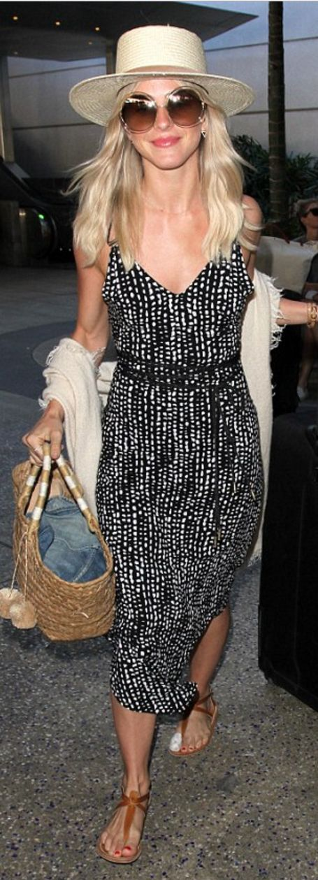 Who made  Julianne Hough's straw handbag, tan flat sandals, round sunglasses, hat, and black polka dot dress?