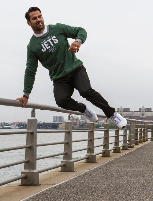 New York Jets wide receiver, Eric Decker is the face and brand ambassador of the NFL Men's Lifestyle upcoming campaign. Shot in New York City, the campaign showcases Decker 'decked out' in fan apparel paired with everyday wear.